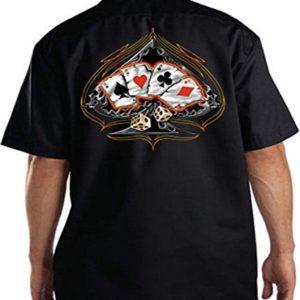 Casino Club Work Shirt Spade Dice Poker Work Shirt Tee