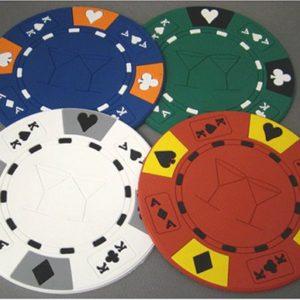 (4) Poker Chips Drink Coaster Bar Set