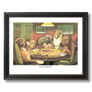 Solid Wood Black Framed Coolidge Dogs Playing Poker At Table A Bold Bluff #4Animal Pictures Art Print