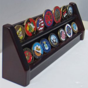 2 Rows Challenge Coin/Poker Chip Display Rack Stand, Alternative to Display Case, COIN17-ma